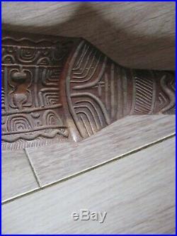 Pagaie ou Massue casse tête en bois sculpté Polynésie Tonga tête de TIKI
