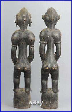 Paire Statue Pombilele Deble SENOUFO SENUFO Ivory Coast figure African art 0801