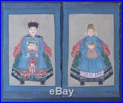 Paire de Peintures Ancêtres sur Toile de CHINE