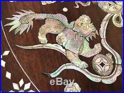 Panneau Bois De Fer 19eme Chine Indochine Decor Dragon Incrustation Nacre Z140