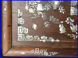 Panneau En Bois De Fer Chine Indochine 19 Eme Avec Incrustation De Nacre C1357
