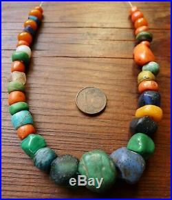 Perle Ancien Ambre Corail Amazonite Verre Collier Maroc Antique Coral Amber Bead