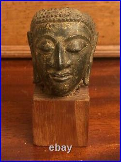 Petite Tête Bouddha Thaïlandais Non Expertisé Trace De Dorures Socle Bois