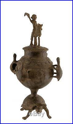 Pot a onguent bronze dogon du mali -urne-cavalier tortue-art africain -AA 1132