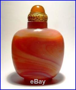 Rare Tabatiere En Agate 19°s. Dynastie Qing Rare Agate Snuff Bottle