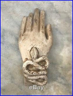 Sculpture copte égypte ancienne main et serpent antiquité