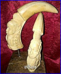 Sculptures femme (paire) en os art colonial ivorine Africain tête 1940-50