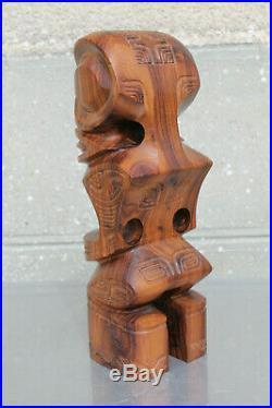 Statue TIKI Iles Marquises Taro sculpteur bois de Tou Noyer d' Oceanie ancien