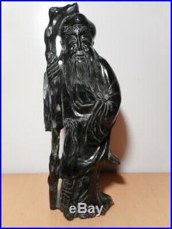 Statue sculpture chinoise pierre dure verte jade sage vieil homme chinois Chine