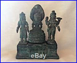 Statuette BOUDDHA DIVINITES TRIPTYQUE cérémonie Khmère Angkor Cambodge Asie