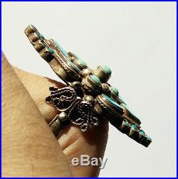 Superbe bague vintage losange argent et turquoise Inde taille 57-58
