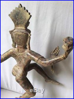 Superbe statuette Dieu Shiva Nataraja cosmique Dance bronze Khmer Cambodge Asie