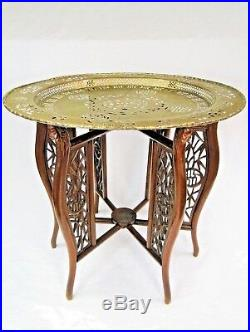 TABLE D'APPOINT CHINE Ca 1920 ANTIQUE CHINESE TABLE PLATEAU LAITON GRAVE DECOUPE