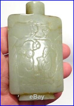 Tabatiere Chinoise En Jade Jadeite- Qing 19°s Ancient Carved Jade Snuff Bottle