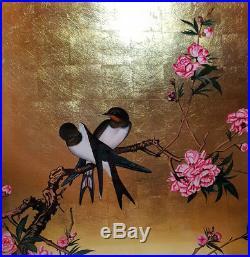 Tableau Bois Laque Vietnam Oiseau Bird Feuille Or painting lacquer gold T12