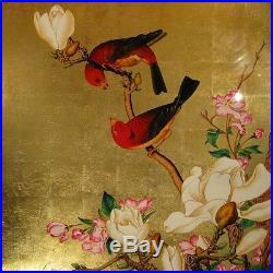 Tableau Bois Laque Vietnam Oiseau Fleur Feuille Or painting lacquer gold bird T1