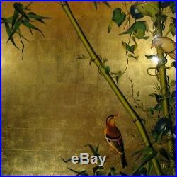 Tableau Bois Laque Vietnam Oiseau Fleur Feuille Or painting lacquer gold bird T2