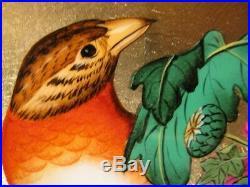 Tableau Bois Laque Vietnam Oiseau Fleur Feuille Or painting lacquer gold bird T3