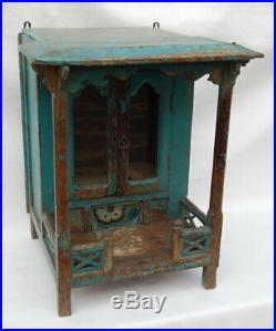 Temple de Maison Bleu Tiroir Gujarat Ancien Piece d'Origine Bois Inde 34x42x54cm