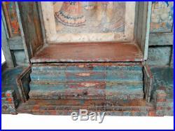 Temple de Maison Tiroir Gujarat Ancien Piece d'Origine Bois Inde 64x16x61cm