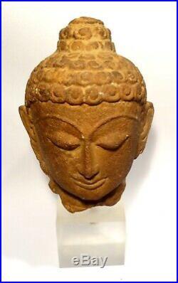 Tete De Boudha En Gres Empire Gupta 400/600 Ad Indian Sandstone Buddha Head
