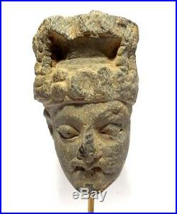 Tete Du Gandhara En Schiste 200 Ad Gandharan Bodhisattva Carved Stone Head