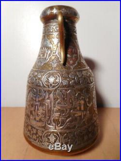 Vase ancien cuivre argent damasquiné Moyen Orient Perse calligraphie thuluth